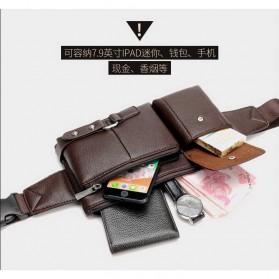 HENGREDA Tas Pinggang Pria Waistbag Bahan Kulit - JP9080 - Brown - 11
