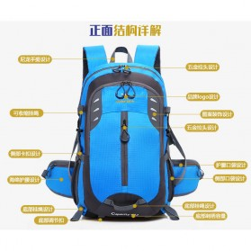 XUAN & YUFAN Tas Gunung Travel Outdoor Adventure Waterproof 40L - GC31 - Black - 7