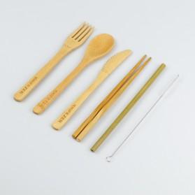 KNIFEZER Cutlery Set Perlengkapan Makan Sendok Garpu Pisau Sumpit Sedotan Japanese Style Bamboo - EA02510 - Wooden - 3