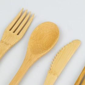 KNIFEZER Cutlery Set Perlengkapan Makan Sendok Garpu Pisau Sumpit Sedotan Japanese Style Bamboo - EA02510 - Wooden - 5