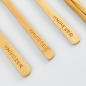KNIFEZER Cutlery Set Perlengkapan Makan Sendok Garpu Pisau Sumpit Sedotan Japanese Style Bamboo - EA02510 - Wooden - 6