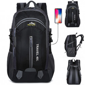 HUWAIJIANFENG Tas Gunung Travel Outdoor Adventure Waterproof 40L with USB Charger Port - ST31 - Black