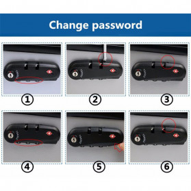 CoolCell Gembok TSA Retsleting Koper Kunci Kombinasi 3 Digit - S002 - Black - 6