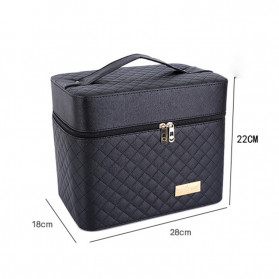 LANLEO Tas Kosmetik Make Up Travel Organizer Bag Bahan Kulit - DR102 - Black - 3