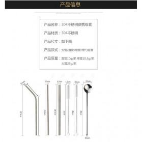 We&Me Set Sedotan Besi Stainless Steel 3 PCS + Sendok + Sikat with Cloth Bag - WM6 - Rose Gold - 4