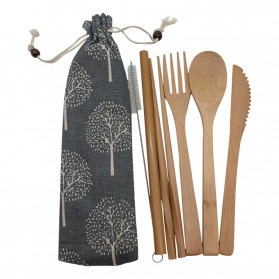 Sendok & Garpu - ABAY Set Perlengkapan Makan Sendok Garpu Pisau Sumpit Sedotan Japanese Style Bamboo - 1199 - Navy Blue