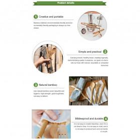 ABAY Set Perlengkapan Makan Sendok Garpu Pisau Sumpit Sedotan Japanese Style Bamboo - 1199 - Navy Blue - 2