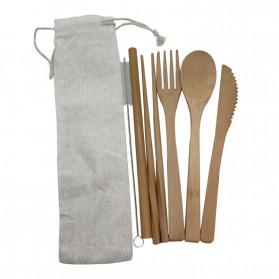 ABAY Set Perlengkapan Makan Sendok Garpu Pisau Sumpit Sedotan Japanese Style Bamboo - 1199 - Navy Blue - 5