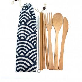 ABAY Set Perlengkapan Makan Sendok Garpu Pisau Sumpit Sedotan Japanese Style Bamboo - 1199 - Navy Blue - 7