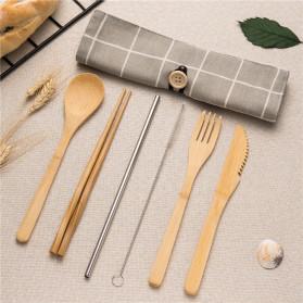 Tableware Set Perlengkapan Makan Sendok Garpu Pisau Sumpit Sedotan 6PCS - DW002 - Khaki