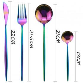 ROXY Cutlery Set Perlengkapan Makan Sendok Garpu Pisau Portuguese C22 - Pink - 2
