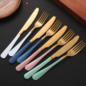 SPKLIFEY Pisau Makan Cutlery Perlengkapan Makan Western 1PCS - LF1 - Black Gold - 3