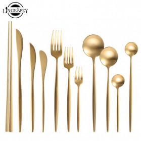 ROXY Cutlery Set Perlengkapan Makan Sendok Garpu Pisau Portuguese C29 - Black Gold - 2