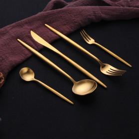 ROXY Cutlery Set Perlengkapan Makan Sendok Garpu Pisau Portuguese C29 - Black Gold - 6