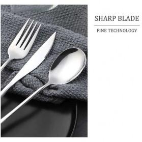 ROXY Cutlery Set Perlengkapan Makan Sendok Garpu Pisau Sedotan C99 - Silver - 2