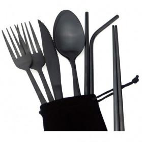 ROXY Cutlery Set Perlengkapan Makan Sendok Garpu Pisau Sedotan C99 - Silver - 3