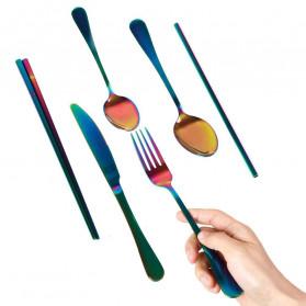 ROXY Cutlery Set Perlengkapan Makan Sendok Garpu Pisau Sedotan C99 - Silver - 4