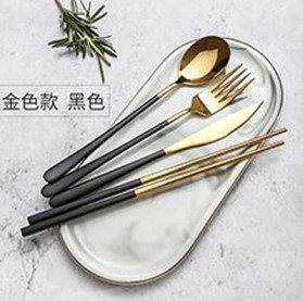 ROXY Cutlery Set Perlengkapan Makan Sendok Garpu Pisau Sumpit - C70 - Black Gold