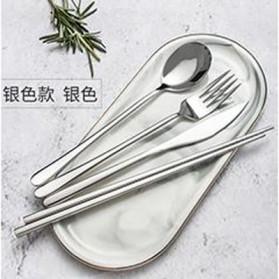 ROXY Cutlery Set Perlengkapan Makan Sendok Garpu Pisau Sumpit C70 - Silver