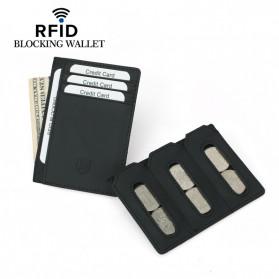 BUBM Dompet Kartu Anti RFID Bahan Kulit - YP-216 - Black