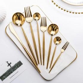 SPKLIFEY Cutlery Set Perlengkapan Makan Sendok Garpu Pisau Western - SPK4 - Golden - 2
