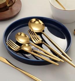 SPKLIFEY Cutlery Set Perlengkapan Makan Sendok Garpu Pisau Western - SPK4 - Golden - 4