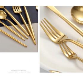 SPKLIFEY Cutlery Set Perlengkapan Makan Sendok Garpu Pisau Western - SPK4 - Golden - 6