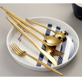 SPKLIFEY Cutlery Set Perlengkapan Makan Sendok Garpu Pisau Western - SPK4 - Golden - 7