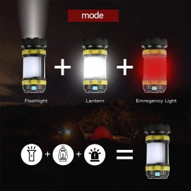 Pocketman Senter Lampu Lentera Camping Lantern T6 + 2835 + 20 Red LED - YY-260 - Black - 5