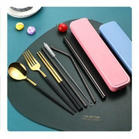 OURCIQ Set Perlengkapan Makan Sendok Garpu Sumpit Sedotan Cutlery Dinner Set + Box - 5123 - Black Gold