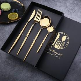 Iyeafey Set Perlengkapan Makan Sendok Garpu Pisau - KA2021 - Black Gold - 2