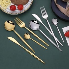 Iyeafey Set Perlengkapan Makan Sendok Garpu Pisau - KA2021 - Black Gold - 6