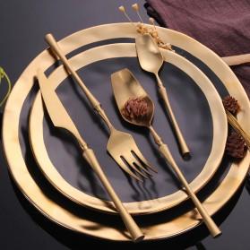 Lingeafey Set Perlengkapan Makan Sendok Garpu Pisau Stainless Steel - C50 - Golden