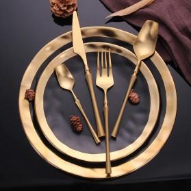 Lingeafey Set Perlengkapan Makan Sendok Garpu Pisau Stainless Steel - C50 - Golden - 2