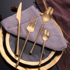 Lingeafey Set Perlengkapan Makan Sendok Garpu Pisau Stainless Steel - C50 - Golden - 3