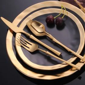Lingeafey Set Perlengkapan Makan Sendok Garpu Pisau Stainless Steel - C50 - Golden - 4