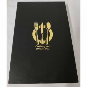 Lingeafey Set Perlengkapan Makan Sendok Garpu Pisau Stainless Steel - C50 - Golden - 6