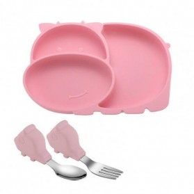SILBABY Piring Makan Balita Divided Plate with Suction Cup Silicone BPA Free - 65405 - Pink