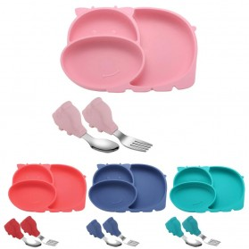 SILBABY Piring Makan Balita Divided Plate with Suction Cup Silicone BPA Free - 65405 - Pink - 7