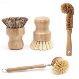 RSCHEF 4in1 Sikat Pembersih Serbaguna Gagang Kayu Kitchen Brush - CB-004 - Brown