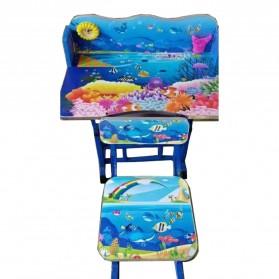 TaffHOME Meja Kursi Belajar Anak Motif Kartun Lucu 45 x 70cm - WBP20 - Dark Blue