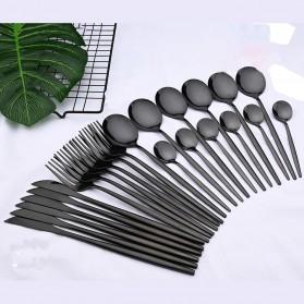 Uniturcky Perlengkapan Makan Sendok Garpu Pisau Cutlery Set 24 PCS - UT421 - Black