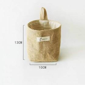 COMELIY Tas Penyimpanan Storage Organizer Bag Jute Cotton Linen 10 x 13 cm - TL100L - Brown