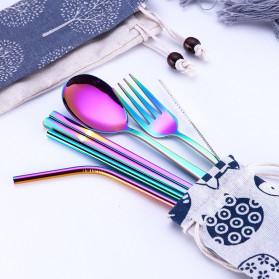 Tofok Cutlery Set Perlengkapan Makan Sendok Garpu Beige Cloth Bag 6PCS - T1 - Silver - 3