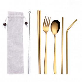 Tofok Cutlery Set Perlengkapan Makan Sendok Garpu Beige Cloth Bag 6PCS - T1 - Golden