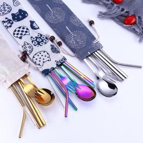Tofok Cutlery Set Perlengkapan Makan Sendok Garpu Beige Cloth Bag 6PCS - T1 - Golden - 2
