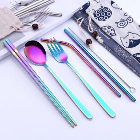 Tofok Cutlery Set Perlengkapan Makan Sendok Garpu Beige Cloth Bag 6PCS - T1 - Golden - 4