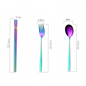 Tofok Cutlery Set Perlengkapan Makan Sendok Garpu Beige Cloth Bag 6PCS - T1 - Golden - 6