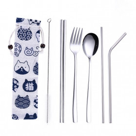 Tofok Cutlery Set Perlengkapan Makan Sendok Garpu Kitty Cloth Bag 6PCS - T5 - Silver