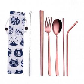 Tofok Cutlery Set Perlengkapan Makan Sendok Garpu Kitty Cloth Bag 6PCS - T5 - Rose Gold